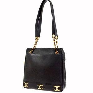 CHANEL Caviar Leather Multi Logo CC Shoulder Bag